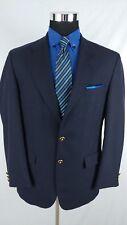 Alexandre London Savile Row Wool Navy Blazer w/Gold 2Button Jacket Men Sz 40/41R
