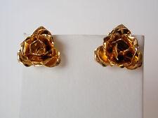 Vintage Gold Plated Rose Flower Cluster Pierced Earrings Pretty Petals On Ear