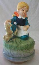 Vintage Andre Richard Ceramic Girl With Dog Music Figurine
