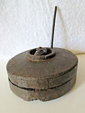 1850'S INDIA ANTIQUE CARVED WOOD SPICE HAND GRINDER CHILDS LEARNING TOOL