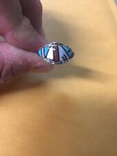 Neuer Indianer-Ring: Sterling-Silber mit Inlay Türkis Koralle Perlmutt -Top !