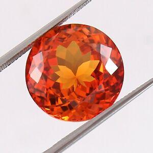 Natural Flawless Ceylon Orange Fanta Sapphire Round Cut Loose Gemstone 21.85 Ct