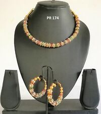 Indian Fashion Jewelry Wedding Bridal Gold CZ Multicolor Necklace Earrings Sets