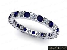 1.50Ct Round Cut Sapphire Diamond Shared Prong Eternity Band Ring 10k Gold GH I1