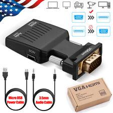 Vga To Hdmi Adapter Full Hd 1080P Audio Video Converter Laptop Pc To Tv Hdtv Av
