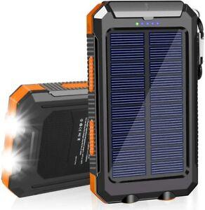 Waterproof Solar Power Bank 20000mAh Portable External Battery Charger Flashligh