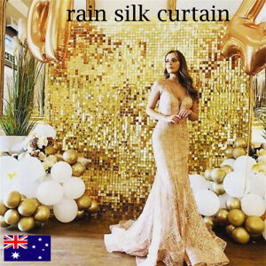 Shimmer Wall Backdrop 2m Length Square Glitter  Curtain Party Decoration Sequin