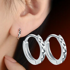 Fashion Mens Womens 925 Sterling Silver Simple Ear Clip Ear Stud Hoop Earrings