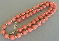 Natural Un-Dyed 7 mm Coral Beaded Necklace Strand MOMO 14K Clasp