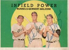 1959 Topps Infield Power Dick Gernert and Frank Malzone Signed Card with JSA COA