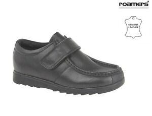 Roamers Boys Black Leather Shoes School Touch Fastening Trainers size 10 - 6 UK