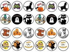 24 Halloween cake topper kids witch ghost bun fairy cupcake toppers  party