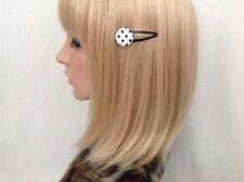 Black white polka dot print fabric button hair snap clip girls pin up vintage