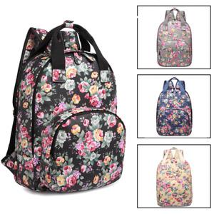 LADIES GIRLS BACKPACK OILCLOTH FLOWER PRINT SCHOOL LAPTOP LARGE BAG