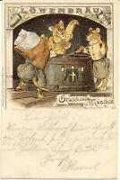 AK München, Löwenbräu, 3 Löwen beim Brauen, gel. am 13.5.1902