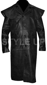 HellBoy Ron Perlman Casual Black Military Classic Style Leather Long Trench Coat