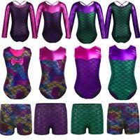Girls Gymnastics Leotards Mermaid Ballet Dance Athletic Shorts Bottoms Costumes