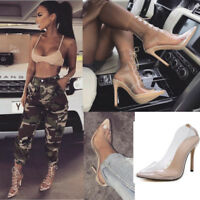 Women Clear Nude Feet Ankle Boots Kim K See Through Party Heels Pointed Shoes UK