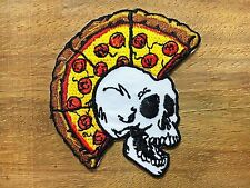 Skull Mohawk Punk Rock Pizza Biker Embroidered Applique Iron on Patch#2