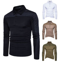 Men's Long Sleeve Golf Simple T-Shirt Henly Tops Blouse Polyester Tee #43