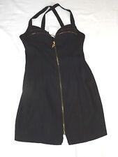 """BNWT ALCHEMY NEW YORK SEXY GOTH ZIP STYLE BLACK PARTY MINI DRESS CHEST 32"""" 81cm"""