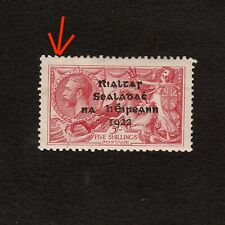 IRELAND 1922 OVERPRINTED FIVE SHILLINGS SEAHORSE STAMP MINT (REPAIRED)