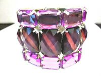 STRETCH BRACELET CONTEMPORARY PURPLE WITH RAISED MULTIFACETED LIGHT DARK