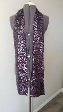 Eileen Fisher Aubergine Plum Purple Merino wool Sequin Skinny Scarf Tiny Hole