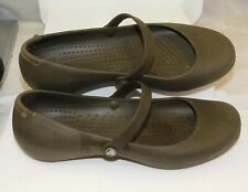 CROCS W8 Women's 8 ALICE Brown Mary Jane Flat Slip on Shoes VGC