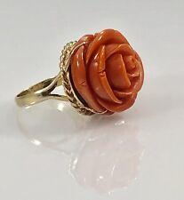 Vintage Untreated Red/Orange Coral Rose Carving & Solid 14kt Ring, Sz 7,14.6g