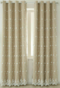 Pair of Double Layer Curtain Bedroom Window Drapes 107x213cm