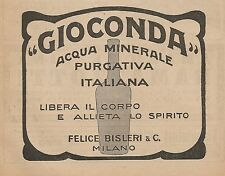 Z0121 Acqua minerale GIOCONDA - Felice Bisleri_Pubblicità del 1926 - Advertising