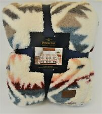 "Pendleton Sherpa Fleece Blanket Queen Size White Sands Multi Southwest 98"" X 92"""