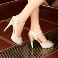 Womens Rhinestones Party Wedding Sandals Peep Toe High Heels Shoes Glitter Pumps