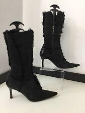 Paciotti bottes Noir Bottes Mi-mollet en daim taille 38 UK 5 heels Très bon état bordure en fourrure