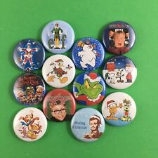 "Classic Christmas Characters 1"" Button Pin Lot Bill Murray Grinch Elf Garfield"