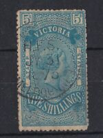 V254) Victoria 1884 Stamp Statute watermark V over Crown perf 13 5/- Blue/yellow
