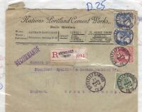 Belgian 1910 Commercial Registered Cover To Germany England Postal History J2806