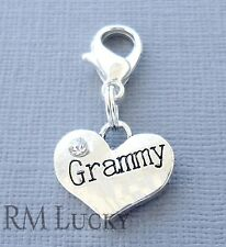 GRAMMY Heart Clip On Charm Lobster Clasp for Link Chain, Floating locket C109