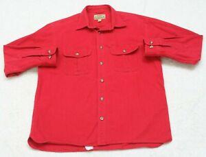 Cabela's 2 Pocket Dress Shirt Large Long Sleeve Solid Red Large Chamois Cloth