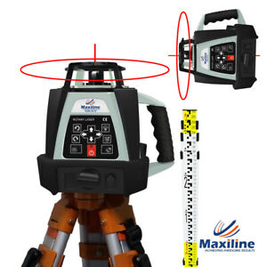 Self Leveling Rotating Rotary Laser Level w Tripod Staff Red Beam GSW201 Video