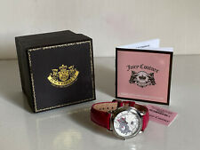JUICY COUTURE J COUTURE SWAROVSKI CRYSTAL RED PINK LEATHER STRAP WATCH $195 SALE