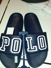 """Polo Ralph Lauren Men's Cayson 'Polo Spellout"""" Slides in Navy Blue and White"""