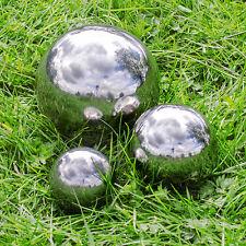 Set of 3 Silver Mirror Garden Spheres Stainless Steel Gazing Balls 9, 13 & 18cm