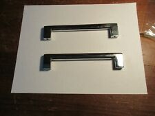 2-LARGE VINTAGE RETRO 1950's CHROME SOLID CABINET / DOOR PULL HANDLE