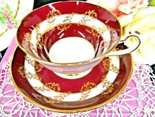 ROYAL GRAFTON tea cup and saucer maroon red & gold gilt pattern teacup fancy set