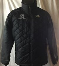 Women's North Face Primaloft L Alyeska Resort Alaska Logo Black Puffer Jacket VG