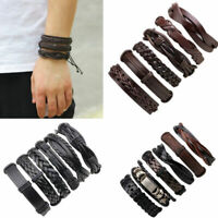 Fashion Punk Leather Wrap Braided Wristband Cuff Punk Bracelet Bangle Mens 6pcs