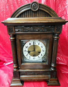 1895 Large Bracket Clock With Quarter Hour Chimes--Junghans,Case Is Fine