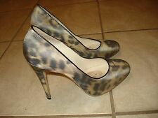 BRIAN ATWOOD LEOPARD PRINT SATIN HIGH HEEL PUMPS Sz 39 MADE IN ITALY